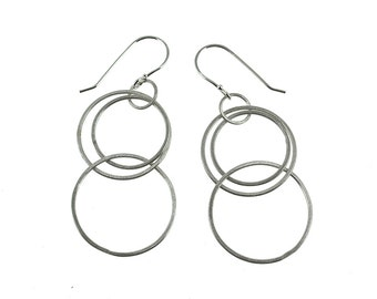Silver Hoop Earrings, Circle Dangle Earrings, Hoop Dangle Earrings, Silver Dangle Earrings, Silver Circle Earrings, Luba Earrings