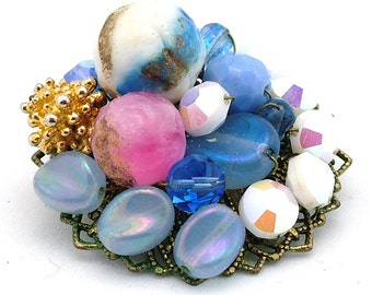 Petite Vintage Brooch Hand Wired On Beaded Cluster Style C-Clasp