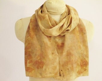 "Silk Scarf - Natural Dye - Eco Fashion - Plant Dyed - Buff Russet Gold - CDC111522 -  Approx. 11""x56"" (28 x 142cm)"