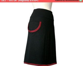 SALE Plus Size Skirt, Womens Clothing, Black Skirt With Pockets, Aline Pocket Skirt