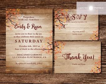 Rustic Wedding Invitation, Fall Wedding Invite, Autumn Invite, Fall Wedding,  Printable Invite
