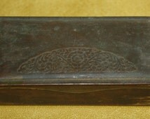 Vintage Small German Brass Postage Stamp Box 3 Compartment Ges Gesch
