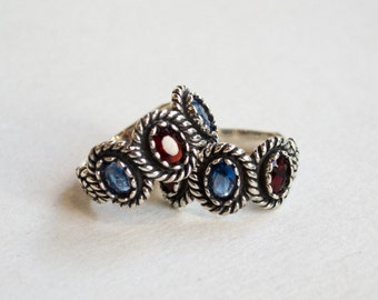 TWO BFF Rings, Sterling silver ring, multistones ring, birthstones ring, unique ring, mother ring, family ring - Just the two of us R2260
