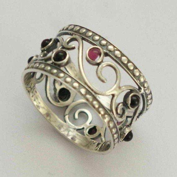 Sterling silver garnet ring, wide band, gemstone ring, red stone ring, January birthstone ring, delicate band - Shades of summer R1267-1