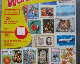 Vintage Stamp Collection 120 Stamps in Unopened Packet Foreign Stamps