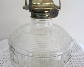 Vintage Clear Embossed Glass Oil Lamp Hurricane Lamp