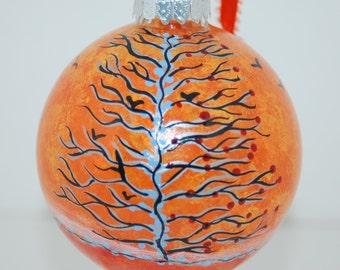 "Hand Painted ""Autumn Days"" Fall Glass Tree Ornament"