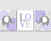 Lavender Gray Purple Wall Art, Elephant, Love, Peonies, Baby Girl, Nursery Wall Art, Floral Wall Art, Kids Wall Art, Set of 3, Prints