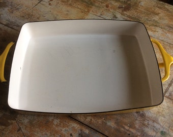 Vintage dansk yellow dishes casserole dish rectangle small enamelware enamel