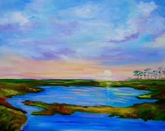 Large 24 x 36 Kiawah Island South Carolina Sunset Marsh Modern Original Oil Painting by Rebecca Croft