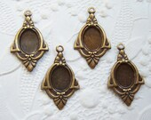 4 -Antiqued brass Art Deco styled settings for 8x6mm cabochon -  JC132