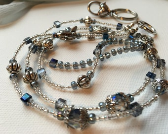 Silver Airplane ID Badge Lanyard with grey blue beads and detachable clasp