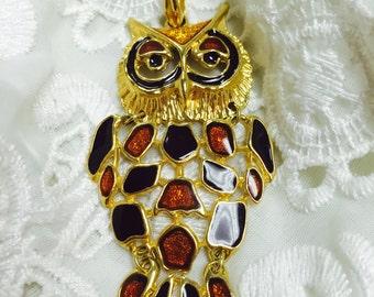Vintage Goldtone Retro BrownRustic Owl