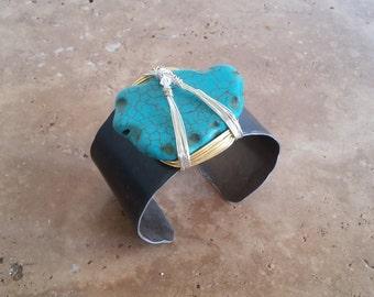 Turquoise on Black Cuff