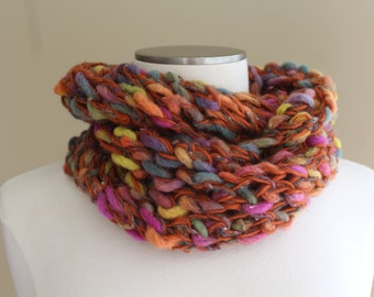Chunky Knit Infinity Scarf in Jewel Tones Orange, Blue, Green, Gold, Wool Infinity Scarf, Chunky Knit Cowl, Chunky Knit Loop Scarf, Fall