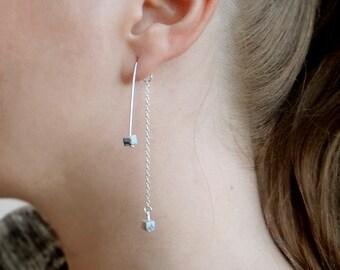 Double Sided Earrings, Silver Ear Jacket Earrings, Long Chain Marble Earrings