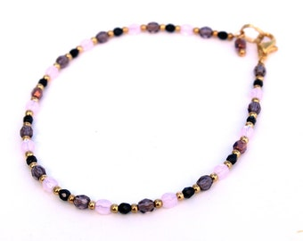 Purple, Pink, and Black Ankle Bracelet, Anklet, Beach Jewelry