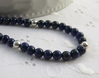 Lapis Lazuli Necklace Royal Blue Navy Blue Gemstone Necklace Cobalt Midnight Gemstone Necklace Thin Necklace