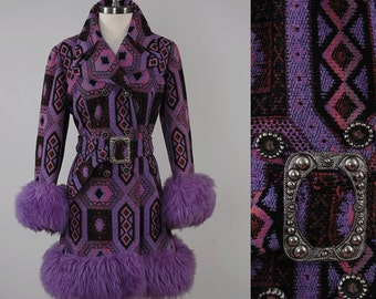 Vintage 60s purple TAPESTRY coat with Sheepskin fur cuffs / Country Pacer label / MOD tapestry coat