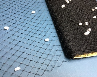 New Item, Special Order  -- 1 Yard 12 inches wide BLACK with White Chenille Dots English Merry Widow Veiling