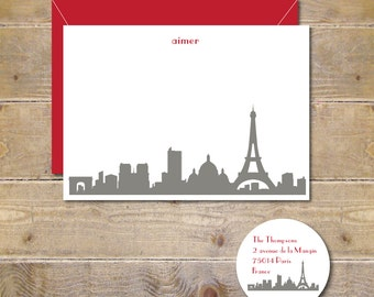 Wedding Thank You Cards, Eiffel Tower, Thank You Cards, Paris, Bridal Shower, City Silhouettes, Thank You Cards, Paris Weddings