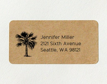 Return Address Labels - Palm Tree, Palm Address Labels, Tropical Address Labels, Custom Printed Labels, Brown Kraft Labels, Beach Wedding