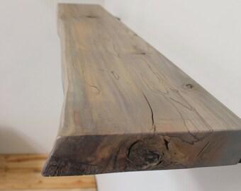 Open Shelf Grey Live Edge Wood Slab