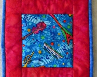 Music Themed Potholder in Red and Blue, Table Hot Pad, Snack Mat, Mug Rug