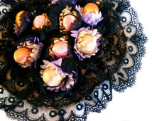 "Antique Black Lace Floral Ribbonwork Rosette Embellishment - Handmade Edwardian 5"" Diameter - Large 3D Applique in Black Lace and Berries"
