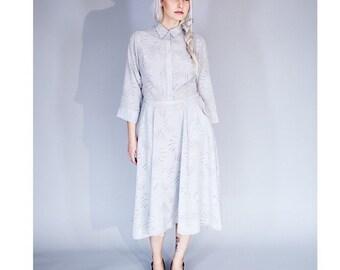 Grey midi dress / Shirtwaist New Look Dress / devoré print shirtdress / Long sleeve dress - 55% off -  On sale