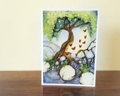 Reserved Listing - Watercolor Art Note Card -  The Butterfly Tree - Cobalt - Autumn Taming - Ruby's Dragon - The Guardian