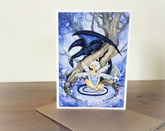 Fantasy Art Note Card - Meet Me in the Woods - fairy. dragon. black. tree. forest. greeting card. whimsical. enchanted.