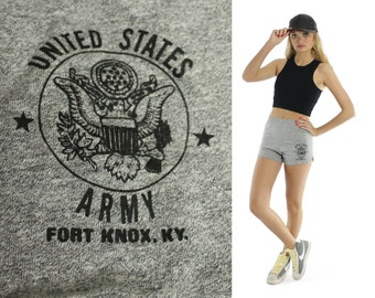 Vintage 70s 80s Gym Shorts Army Fort Knox Military Athletic Running Track Gray Knit 1970s 1980s XS Small Soffe
