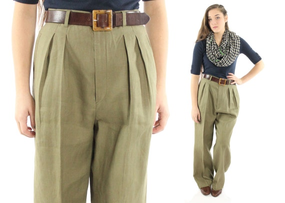 Vintage 80s High Waisted Trousers Pleated Pants Mens Style