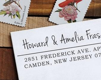 Custom Address Stamp, Return Address Stamp, Wedding address stamp, Calligraphy Address Stamp, Self Inking Stamp - Amelia