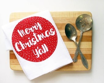 Merry Christmas Y'all Southern Holiday Decor Red Cotton Kitchen Towel Flour Sack Hostess Teacher Gift Funny Nashville Tennessee Wholesale