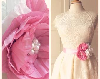 Romantic  Bridal Tafetta  Belt Flower Sash for Wedding