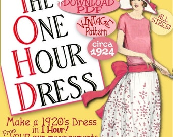 1920's 1 HOUR Dress - make Your own frock patterns like Downton Abbey- Vintage 1920 FLAPPER e-booklet pdf