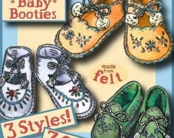 SALE 1940s FELT Baby to Toddler Booties Moccasin Style e-Pattern 3 SIZES