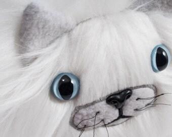Catball -- furry cat handmade stuffed animal -- custom plush in soft white faux fur