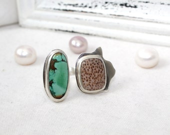 Sterling Silver Duet Ring with Turquoise and Petrified Palm Wood Gemstone - Jewelry 925 - Size 9
