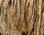 Sand Dune Recycled Sari Silk Thin Ribbon Yarn 5 - 10 Yards for Jewelry Weaving Spinning & Mixed Media