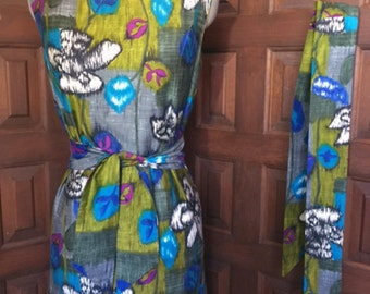 1960s Mildred's of Hawaii Dress with Hair Scarf
