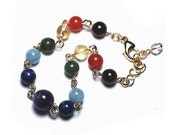 Gold Chakra Bracelet, Yoga Bracelet, 7 Chakra Jewelry, Yoga Gift in Gemstones & 14k Gold Filled