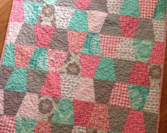 Pink, Mint, Grey and White Baby Girl Crib Quilt blanket tumbler pattern