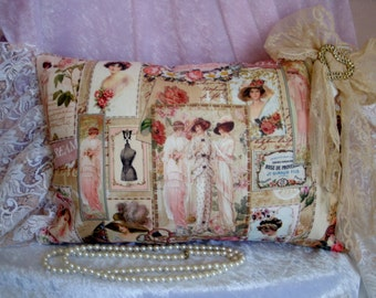Beautiful Handmade Shabby Chic French Provincial decor bolster pillow cushion w vintage ladies