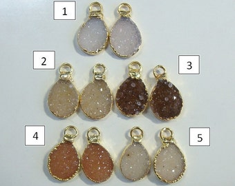 Natural Brown Agate Druzy Drusy lovely Teardrop Small Pendant Charm, Earring Pair,24K Gold Edged, L15