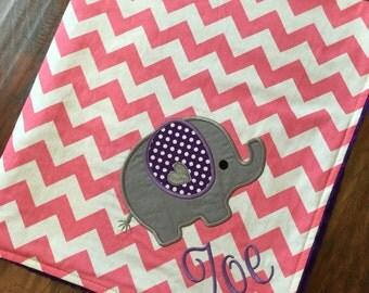 Personalized Baby Blanket- Elephant Blanket- Minky Baby Blanket- Chevron Minky Blanket- Elephant Applique Baby Blanket