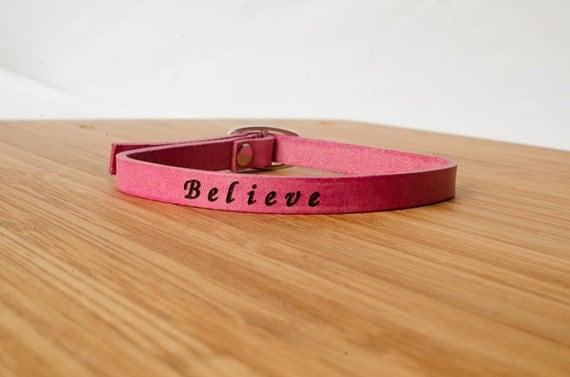 Believe Custom Skinny Adjustable Leather Bracelet