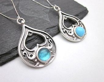 Aqua Blue & Silver Necklace -- Aqua Glass Pendant Necklace -- Blue Dot Necklace -- Aqua Drop Necklace -- Aqua Teardrop Necklace -- Teardrop